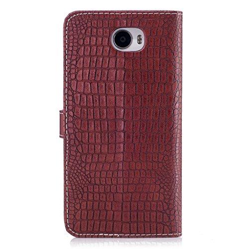 Trumpshop Smartphone Carcasa Funda Protección para Huawei Y5 (2017) [Marrón Oscuro] Patrón de Piel de Cocodrilo PU Cuero Caja Protector Billetera Choque Absorción Vino Rojo