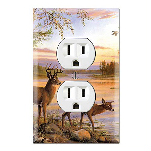 Graphics Wallplates - Painting Deer River Trees - Duplex Outlet Wall Plate Cover