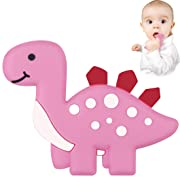 Dinosaur Baby Teether - Bestwin BPA Free Silicone Teething Toy for Baby Shower 0 3 6 12 Months 1 Year Old Christmas Gifts (Pink)