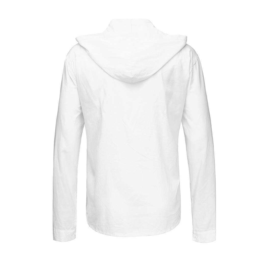 SFE Mens Fashion Shirts,Mens Cotton Linen Loose Solid Long Sleeve Hooded Top Shirt Pullover Blouse White by SFE-Summer Shirts (Image #3)