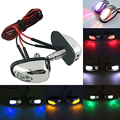 2PCS x Chrome LED Car Exterior Windshield Jet Spray Nozzle Wiper Washer Eye Lamp (Multi-color): Automotive