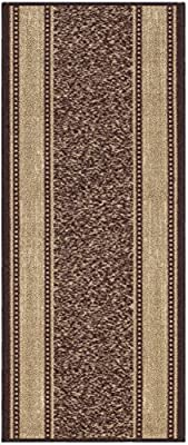 Custom Size Brown Beige Bordered Rubber Back Non Slip Hallway Stair Runner Rug Carpet 22 26 31 Inch Wide Choose Your Length