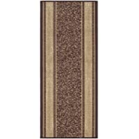 Custom Size Brown Gold Beige Bordered Rubber Backed Non-Slip Hallway Stair Runner Rug Carpet 22 inch Wide Choose Your Length 22in X 12ft