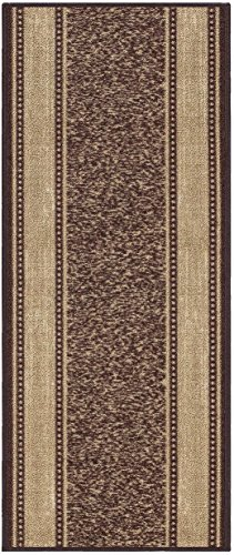 Custom Size Brown Gold Beige Bordered Rubber Backed Non-Slip Hallway Stair Runner Rug Carpet 22 inch Wide Choose Your Length 22in X 30ft by Kapaqua