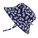 Cute Newborn Baby Boy Breathable Summer Sun Hat 50 UPF, Adjustable & Foldable (S: 0-9m, Bucket Hat: Navy Pineapples)