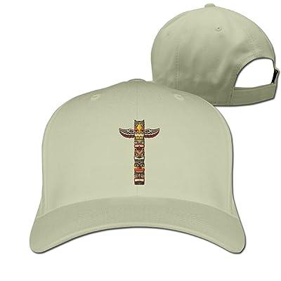 Unisex Totem Pole Vintage Art Baseball Hip-Hop Cap Vintage Adjustable Hats Cotton Trucker Caps for Women and Men Red,One Size