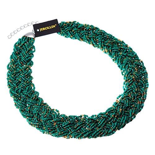 Jerollin Fashion Multi-Colors Chain Water Drop Olivary Yellow Resin Beads Pendant Bib Necklace (Green) (Bib Drop Necklace)