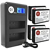 DOT-01 4x Brand 2000 mAh Replacement Canon LP-E10 Batteries and Smart LCD Display Dual Charger for Canon EOS Rebel T5, EOS Rebel T3 Digital SLR Camera and Canon LPE10