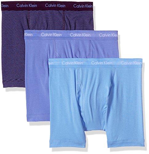 Calvin Klein Men's Underwear Cotton Stretch 3 Pack Boxer Briefs, Della Blue/Malbec Tranquil Blue Stripe/Tranquil Blue, Medium