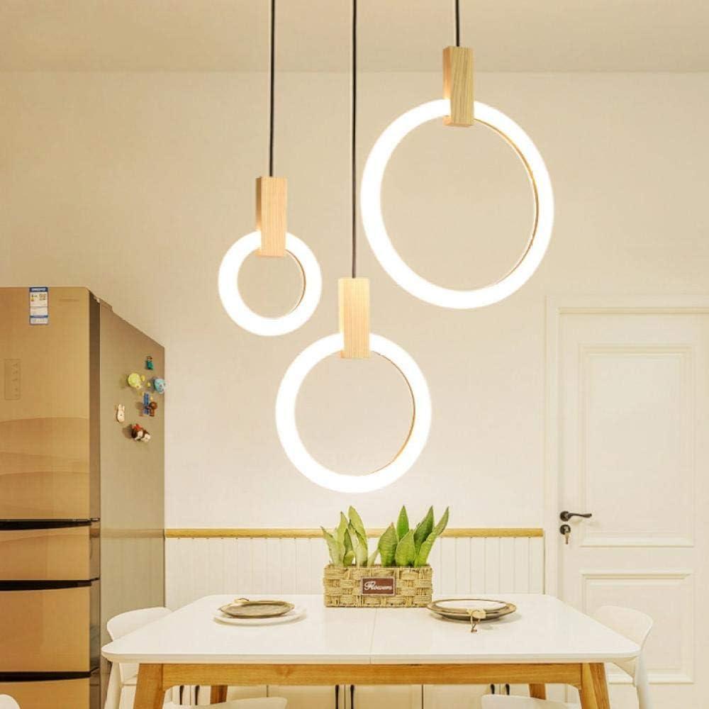 Anillos Luces colgantes 220V para comedor Art Deco Escalera LED de madera Lámpara colgante Restaurante Hotel Accesorios de iluminación: Amazon.es: Iluminación