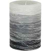 Gray Candle - Layered Rustic Pillar Candle - 3x4 inches - Unscented Handcrafted Candle by Nordic Candle