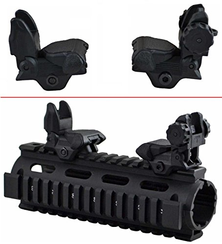 Ultimate Arms Gear Tactical AR15 AR-15 M16 M4 M-4 A1 A2 Flattop Stealth Black Automatic Deploy Weaver Picatinny Rear & Front Flip Up Backup Back Up Polymer Iron Sight Mount (Ar 15 Handguard Weaver Rail)