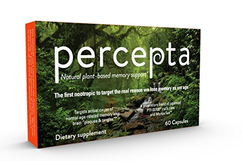 Percepta Memory Supplement - All Natural nootropic Brain Support with Plant-Based polyphenols - 30 Day Supply - scientifically-validated (Best Supplements For Alzheimer's)