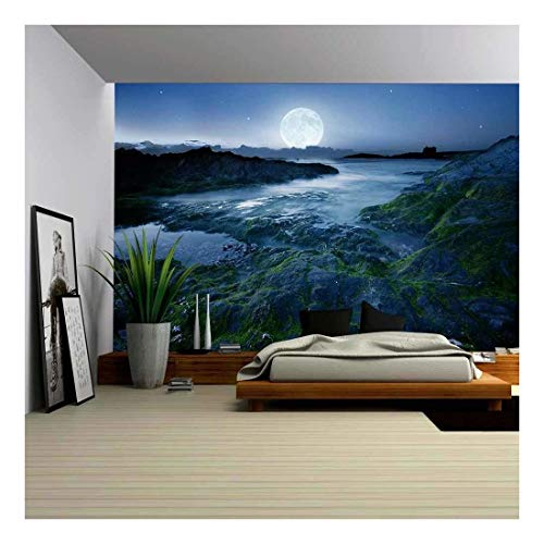 wall26 - Full Moon Over The Coast Cornwall UK - Canvas Art Wall Decor -100