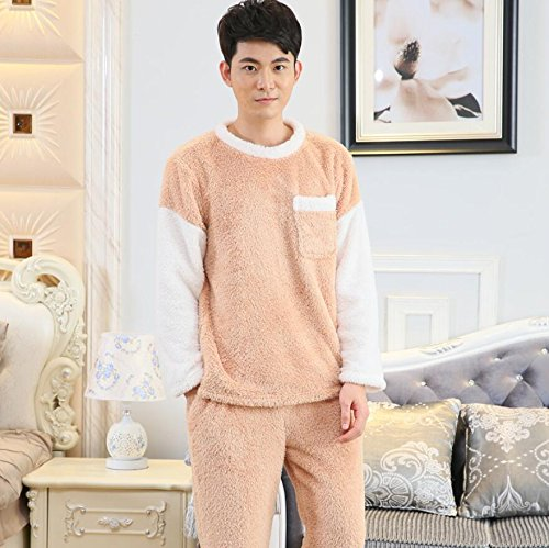 LJ&L Coral cashmere lovers loose pajamas thickening comfort home service simple breathable bathrobe fashion pajamas suit,Men apricot,L by LIUJIANGLONG