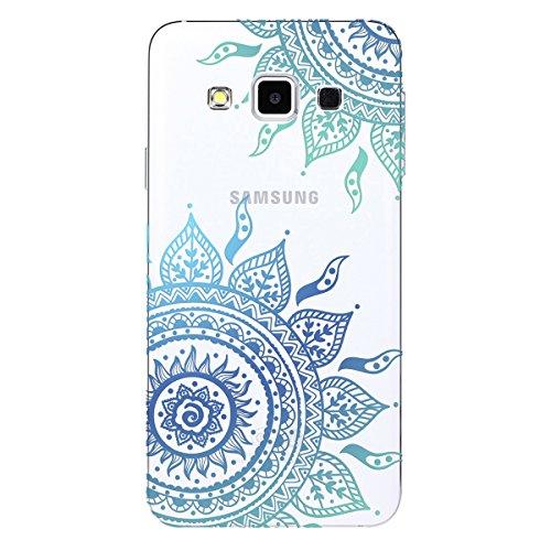 Samsung J5 2015 Funda Transparente Flexible Tapa Trasera , We Love Case Ultra Slim Carcasa Suave Gel Silicone TPU Bordes + PC Acrílico Plástico Duro Cubierta Protectora Parachoques Funda Silicona Espa Mandala