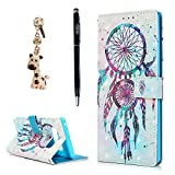 Note 8 Case, YOKIRIN 3D Printed Colorful Dual Wind Chime Folio Flip Stand PU Leather TPU Inner Wallet Cover with ID Card Pockets Hand Strap Magnetic Cover for Samsung Galaxy Note 8 - Dust Plug & Pen