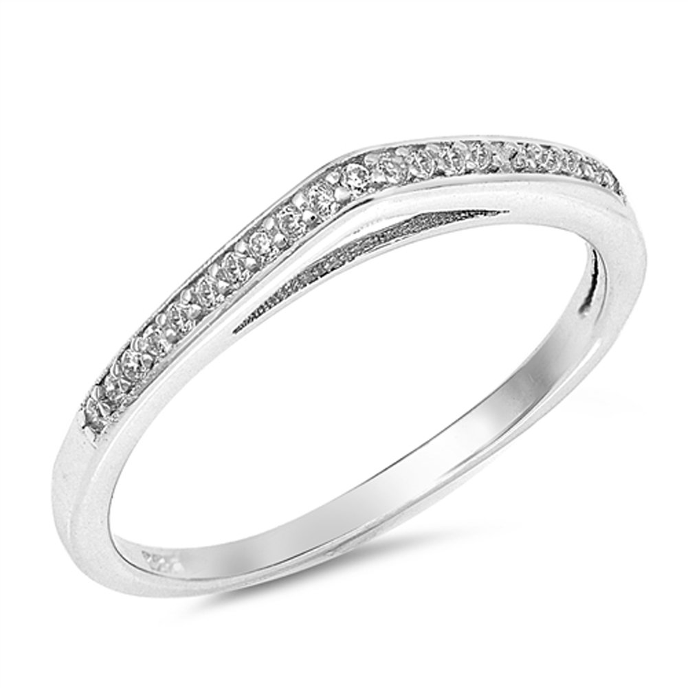 Clear CZ Raised Wedding Ring New .925 Sterling Silver Curved Band Size 9