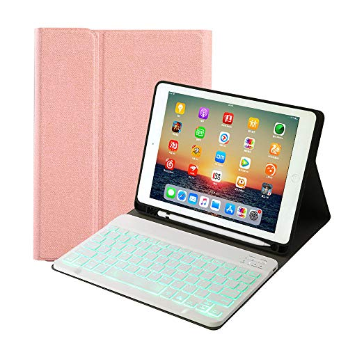 """for Newest iPad 8th Generation (2020)/7th Generation(2019) 10.2 inch Keyboard Leather Case,7 Colors Backlit Removable Slim Lightweigh Folio Cover Wireless Bluetooth Keyboard for iPad 10.2""""(Rose Gold)"""
