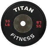 Single Titan Elite Olympic Bumper Plates - 55 LB (Black/Red)