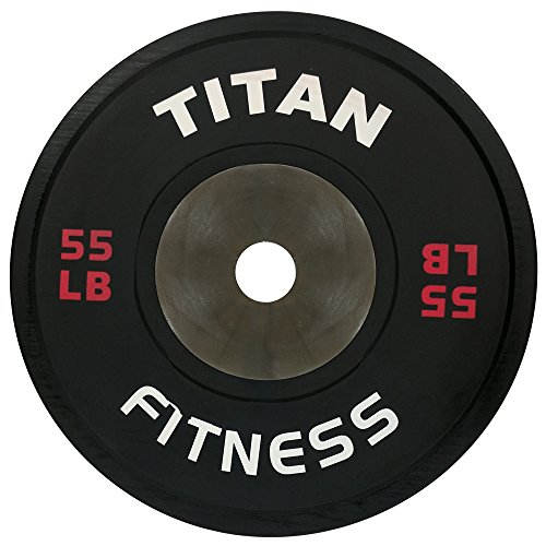 Single Titan Elite Olympic Bumper Plates - 55 LB (Black/Red) by Titan Fitness