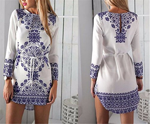Vintage Femmes Fashion Party col rond manches longues Casual Robe Mini-robes