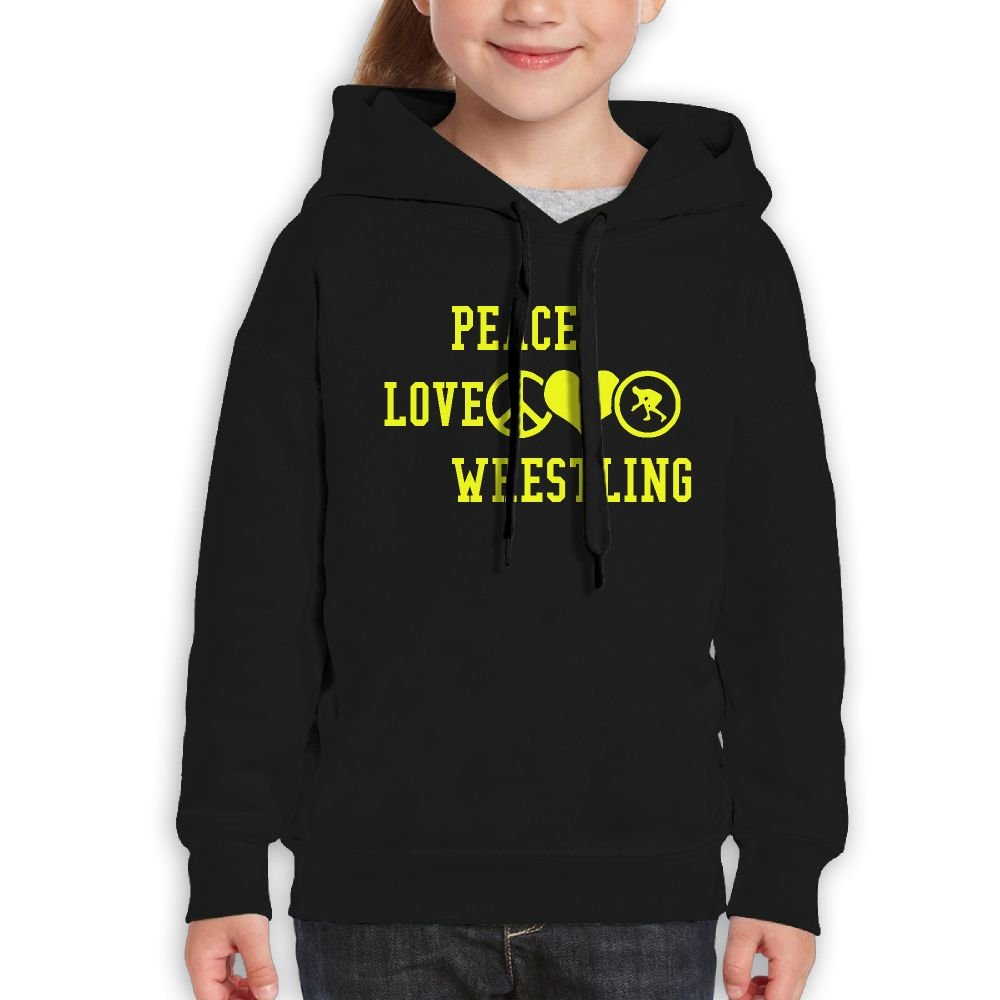 Peace Love Wrestling Unisex Print Hoodie Youth Pullover Drawstring Hooded Sweatshirt For Boys Girls by HIDIO