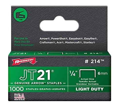 Arrow Fastener 214 50 Pack 1/4in. JT21 Light Duty Staple, 1,000 Staples per Pack