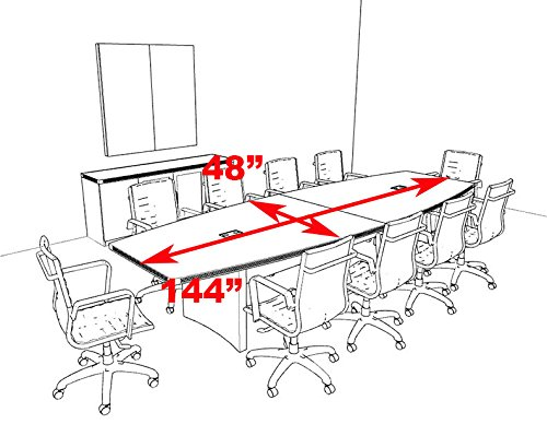 Modern contemporary boat shape 12 39 feet conference table for 12 foot conference room table