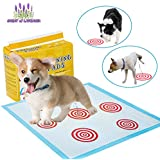 VECELA Pet Training Pads with Guided Circle Printing and Anti-Slip Sticker for Whelping Dogs Training Incontinence Travel Waterproof Bed wetting 6 Layer Protection Gel Dog Pads