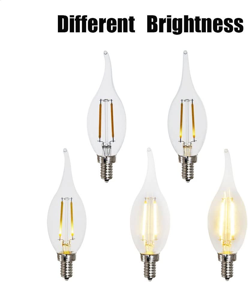 2W,3Pack ZZ Lighting 2W LED Filament Flame Shape Bent Tip Candle Light Bulb 20W Incandescent Bulb Equivalent 2700K 160LM E12 Base