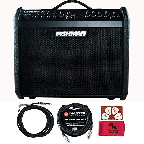 Fishman PRO LBX 5BB Loudbox Mini, Special Edition Black on Black w/PitbullAudio Microfiber cloth, Pikcard, Master 10ft XLR and Instrument Cable.