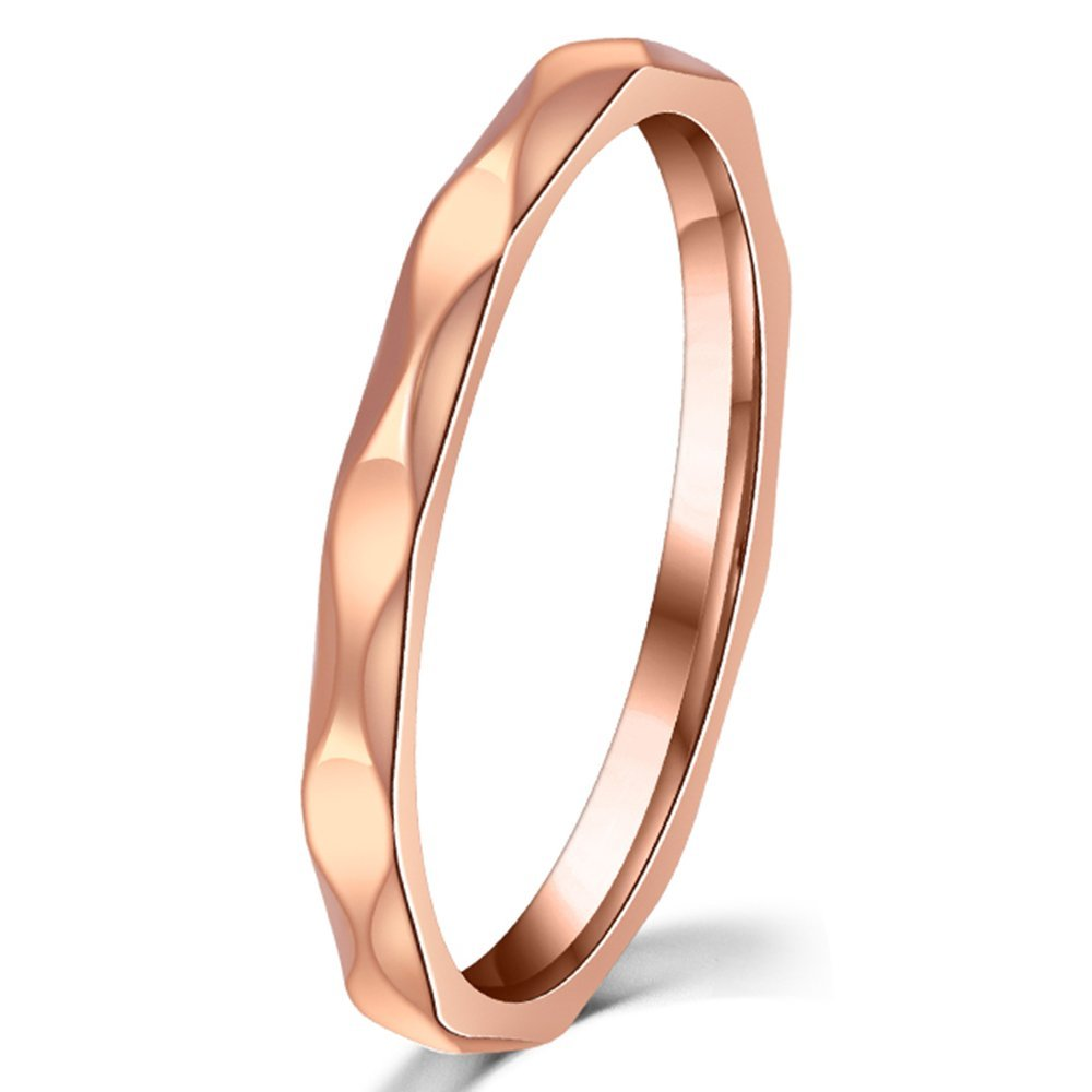 Womens 2mm Wave Prismatic Pattern Rose Gold Ring Engagement Wedding Lady Finger Thin Stainless Steel Band Fashion Month