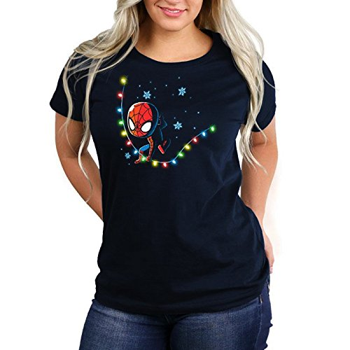 Teeturtle Marvel x Tee Turtle Spider-Man Snow & Lights Womens Tee Shirt Size: Large