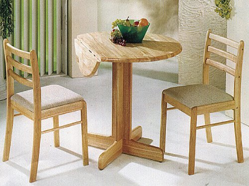 Solid Wood Drop Leaf Table with Starter Chair in Natural Finish ADS1050, 2015 by click 2 go (Image #1)
