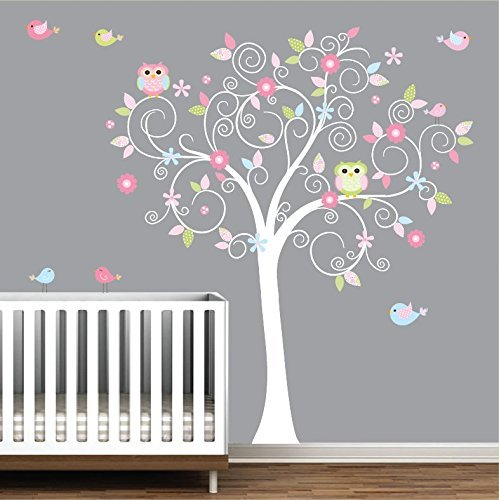 70066b0696b Amazon.com  Tree Wall Decal-Nursery Wall Decals-Nursery Wall Art-Tree Decal  with Owls