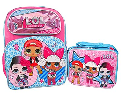 "L.O.L. Surprise! 16"" Backpack, Lunch Box, and 11 Piece Stationery Set - Glee Club"