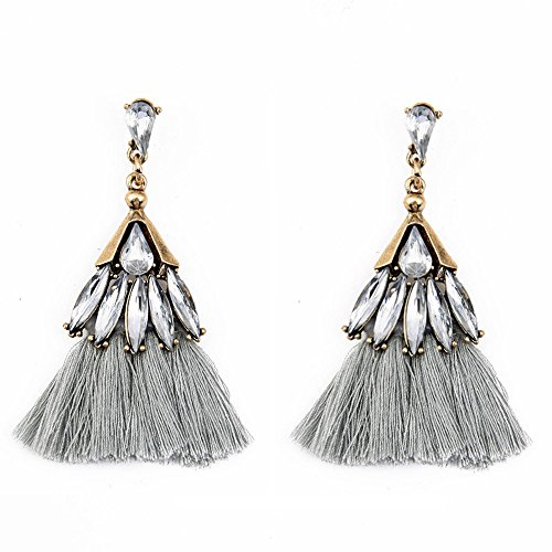 Set Capri Ladybug Outfit (Tassel Rhinestones Earrings, Muranba Colorful Tassel Earrings Bohemian Dangle Drop Tiered Tassels Druzy Studs Earrings for Women (Gray))