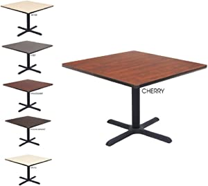 Regency Seating 36 Square Inch Lunchroom Table Top, Cherry/Maple and Cain Metal X Base