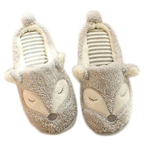 LA PLAGE Women's Winter Warm Comfortable Plush Indoor Cartoon Slippers US 5-6 grey fox