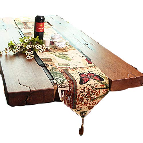 - KEPSWET Cotton Butterfly Floral Pattern Table Runner, 12 x 62 inch, Dining Tea Coffer Dresser TV Home Decorations, Party Banquet Wedding Gift Doily
