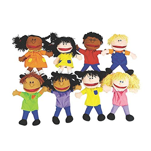 Fun Express Plush Happy Kids Hand Puppets Multi-Ethnic Collection Novelty (Set of 8) ()