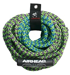 AIRHEAD 4-Rider 2-Section Tube Rope - This tube tow rope has 2 sections, giving you the option to be either 50 or 60 feet behind the boat depending on wake and water conditions. The pre-stretched UV-resistant 5/8 inch diameter 16-strand rope ...