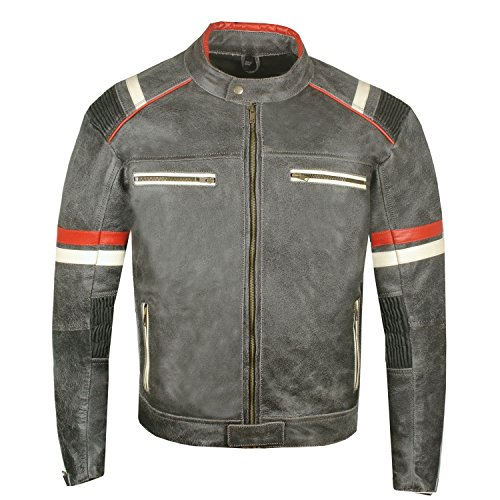 Men's Vintage Cafe Racer Motorcycle Distressed Leather for sale  Delivered anywhere in USA