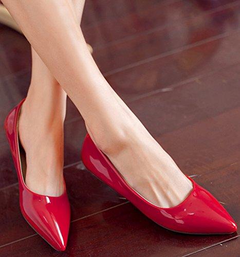 Idifu Mujeres Sweet Slip On Pointed Toe Low Top Zapatos Planos Rojos