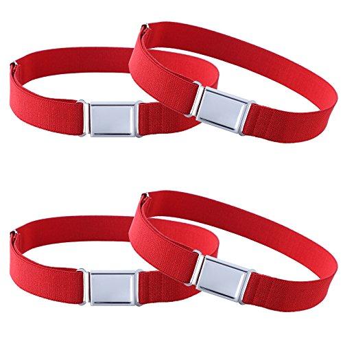 4PCS Kids Boys Adjustable Magnetic Belt - Big Elastic Stretch Belt with Easy Magnetic Buckle (4pcs Red)