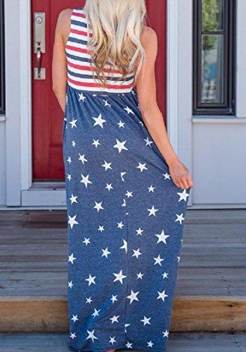 Women Print 4th Pattern3 July Coolred Splice Stripes Dress Full Pockets Length dtWSq1w