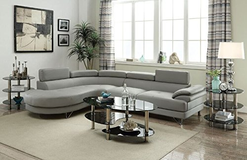 Poundex F6984 Bobkona Isidro Faux Leather sectional, Light Grey