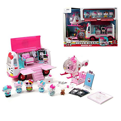 Hello Kitty Jet - Toy, Play, Fun, jada Hello Kitty School Bus Playset Jet Plane Play Set Rescue Girls' toys Gifts for children 15 PCS in it 6 figures 4+ Age, Children, Kids, Game