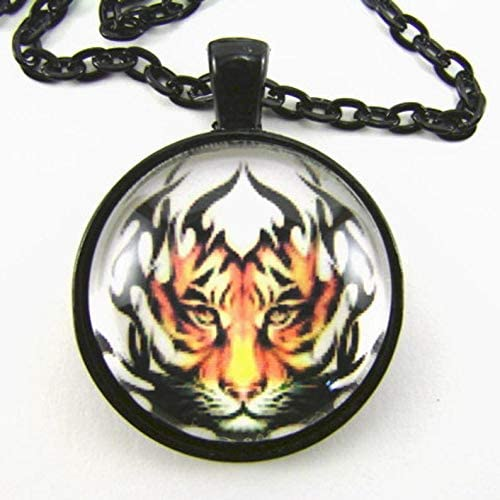 Sunsoul Amulet Tiger Eyes Pendant with Bright Orange Shimmer